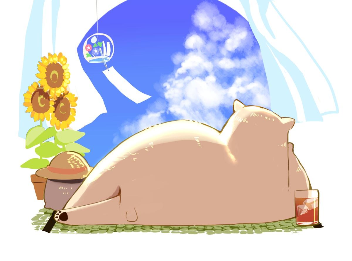 animal bear chai_(artist) clouds cropped drink flowers hat nobody original signed sky summer sunflower