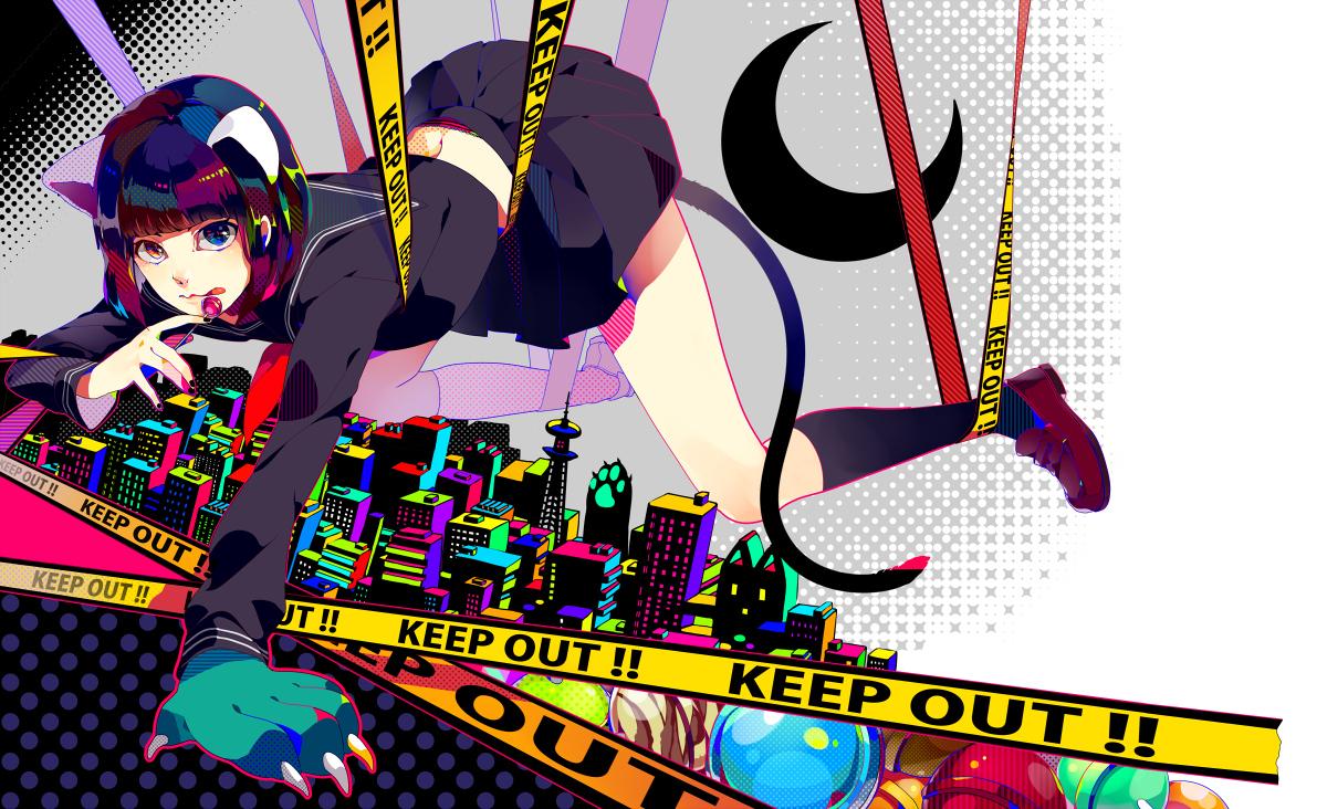 akiakane animal_ears building catgirl city envy_catwalk_(vocaloid) school_uniform tail vocaloid