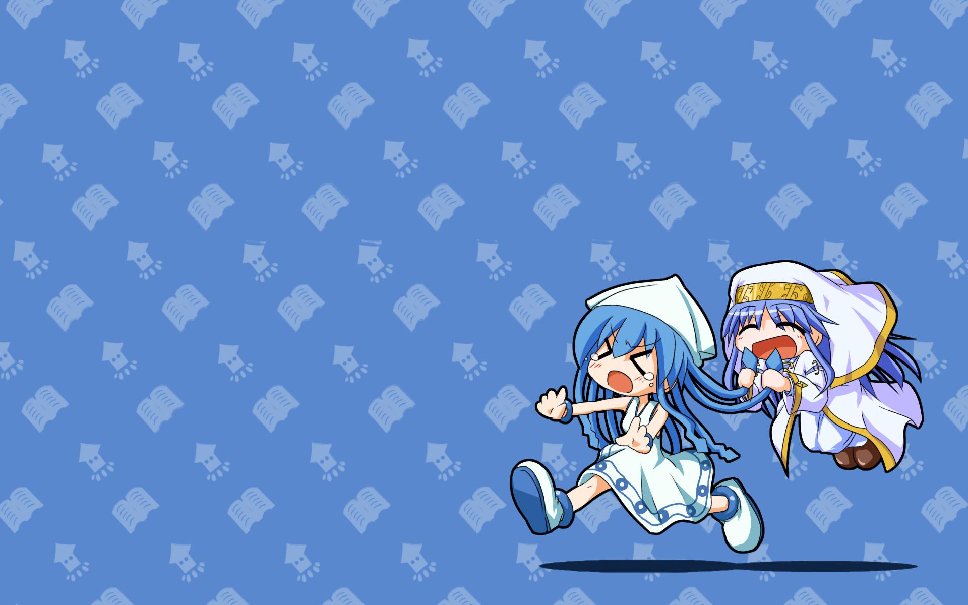 2girls akasaka_takanari blue_hair chibi crossover hat ikamusume index long_hair nun shinryaku!_ikamusume tears to_aru_majutsu_no_index