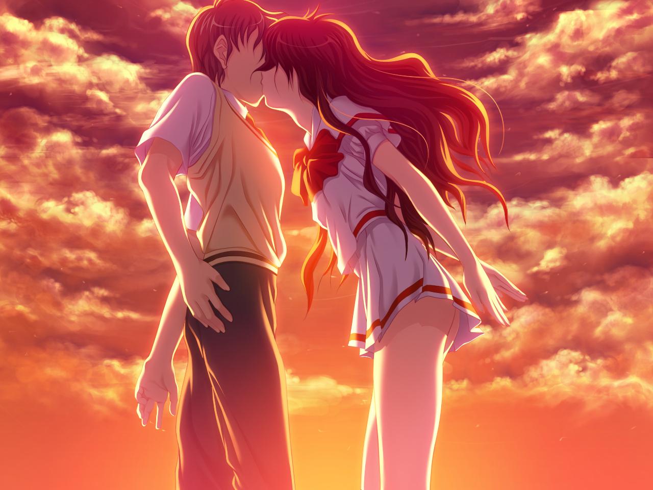 atelier_sakura clouds game_cg hoka_no_otoko_no_seieki_de_harande_mo_ii_desu_ka kiss school_uniform sky sunset tagme wadatsumi_ikuo
