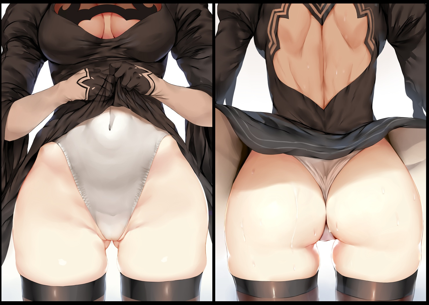 aliasing ass breasts cleavage dress gloves hewsack nier nier:_automata photoshop skirt_lift thighhighs wet yorha_unit_no._2_type_b