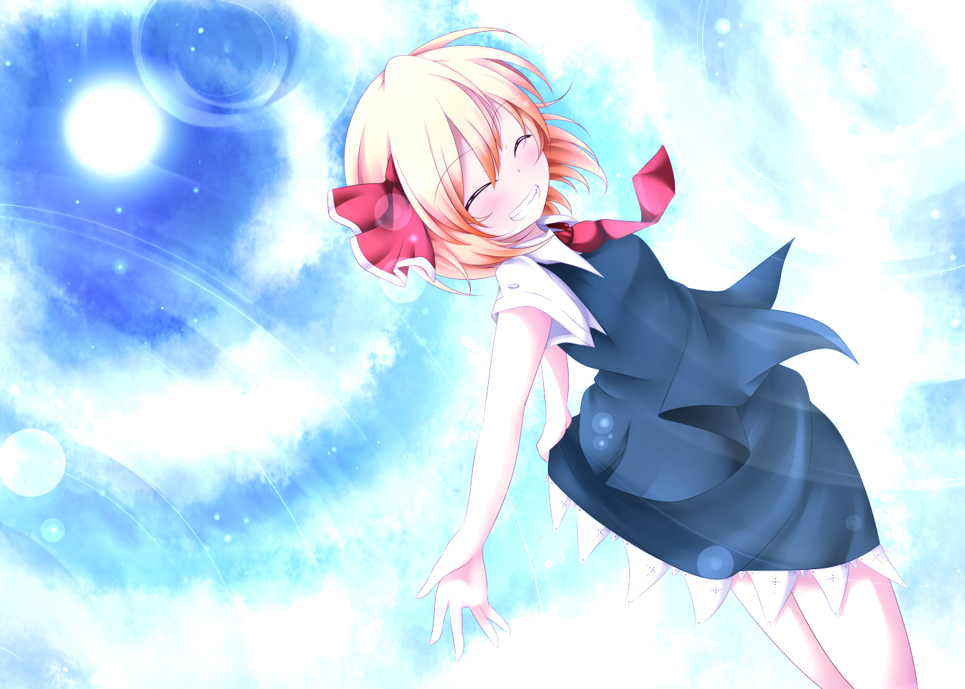 blonde_hair blush clouds kuroyume_(dark495) ribbons rumia short_hair skirt sky tie touhou