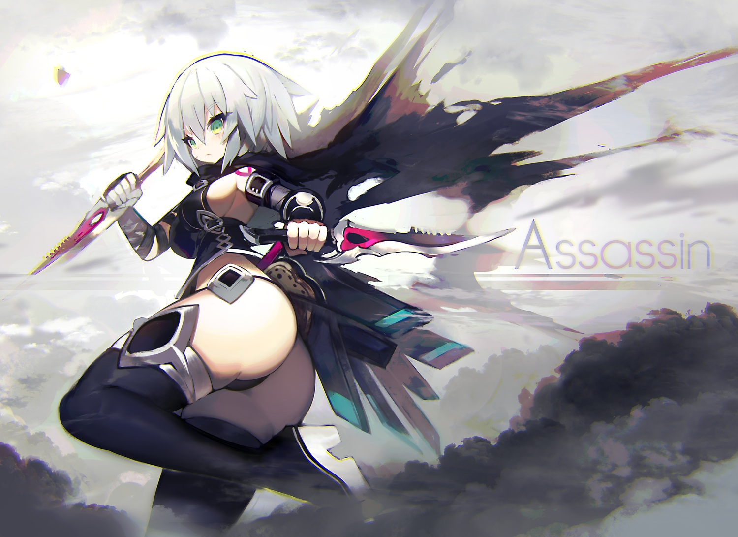 ass boots breasts cape fate/grand_order fate_(series) gloves gray_hair green_eyes jack_the_ripper knife mamuru short_hair sideboob thighhighs weapon