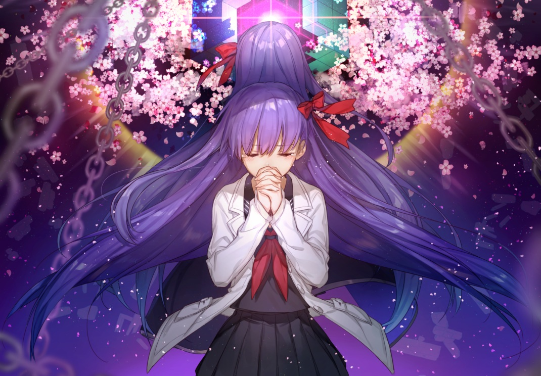 bow chain cherry_blossoms chokoan_(tyokoa5659) fate/extra fate/extra_ccc fate_(series) flowers long_hair matou_sakura petals purple_hair seifuku skirt