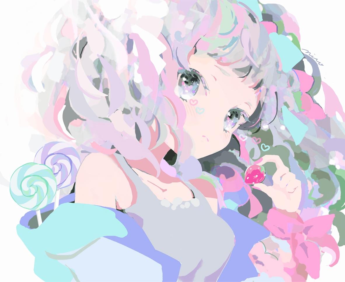 blush candy close food fruit gray_eyes heart hoodie lollipop nucco original polychromatic short_hair signed strawberry