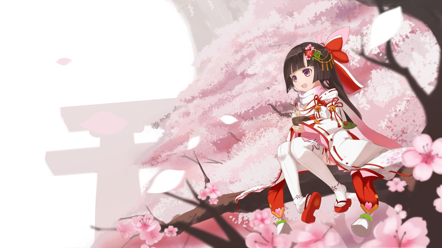 aliasing bell black_hair bow cang_yue_xue_feng cherry_blossoms flowers loli long_hair petals purple_eyes scarf thighhighs torii tree
