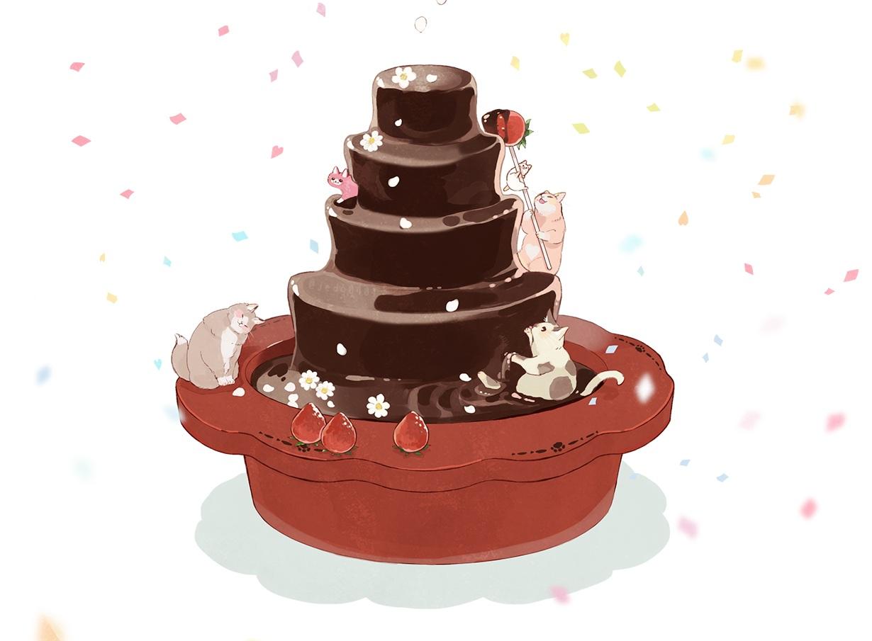 animal cat chocolate food fruit hakuchizu_(jedo) nobody original polychromatic strawberry valentine white