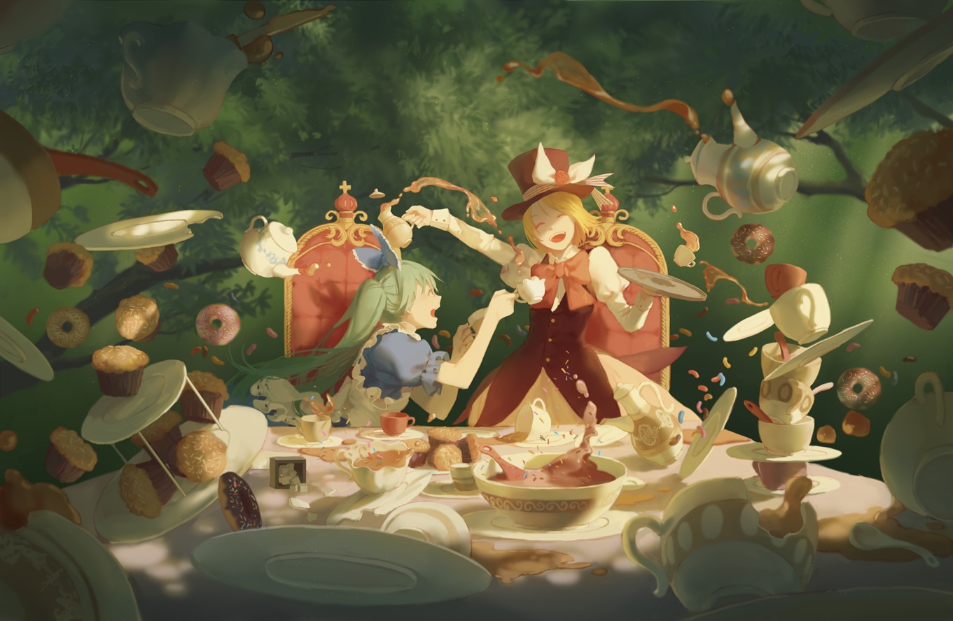 alice_in_wonderland cosplay food hatsune_miku kagamine_rin spencer_sais vocaloid