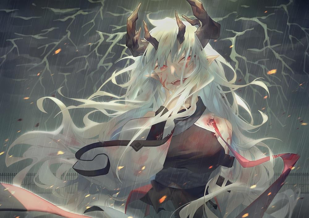 arknights blood horns long_hair matoimaru_(arknights) pointed_ears rain water wenz