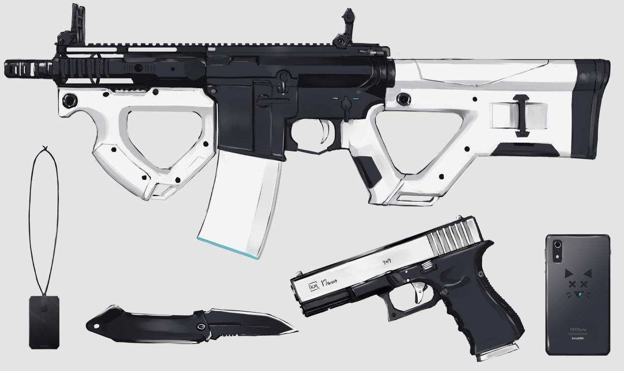 gray gun knife nagishiro_mito nobody original phone polychromatic weapon