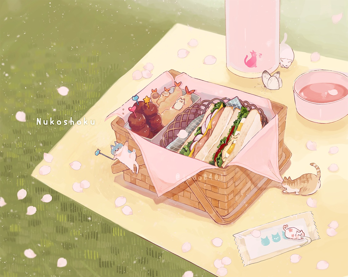 animal butterfly cat drink food grass hakuchizu_(jedo) nobody original petals watermark