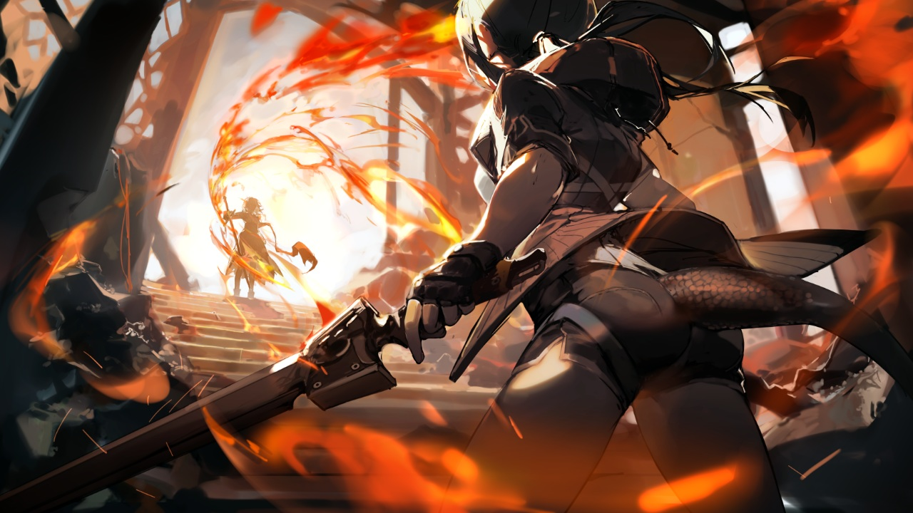 2girls arknights ch'en_(arknights) fire game_cg gloves horns ponytail shorts sword tagme_(artist) tail talulah_(arknights) weapon