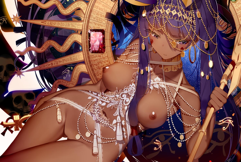 animal_ears atha breasts dark_skin fate/grand_order fate_(series) headband long_hair navel nipples nitocris_(fate/grand_order) nude purple_eyes purple_hair tattoo