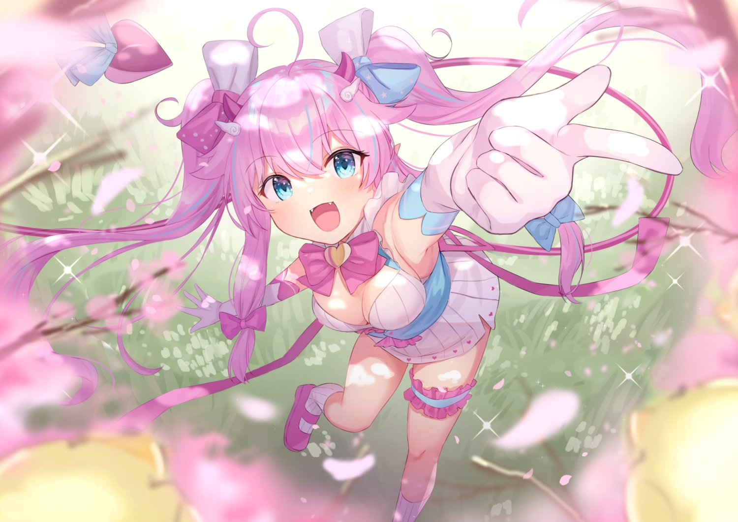 aqua_eyes bow breasts cherry_blossoms cleavage dress elbow_gloves fang flowers gloves long_hair pointed_ears purple_hair ribbons socks tagme_(character) tsukiman twintails