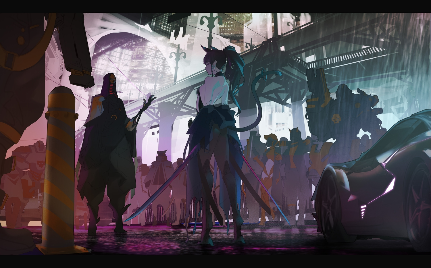 animal_ears ass black_hair breasts building catgirl city gloves gun hat long_hair mecha navel original ponytail rain short_hair sword tail techgirl thighhighs water weapon yi_cat