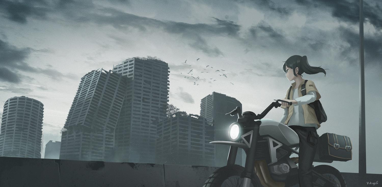 clouds gan-viking motorcycle original ruins scenic sky