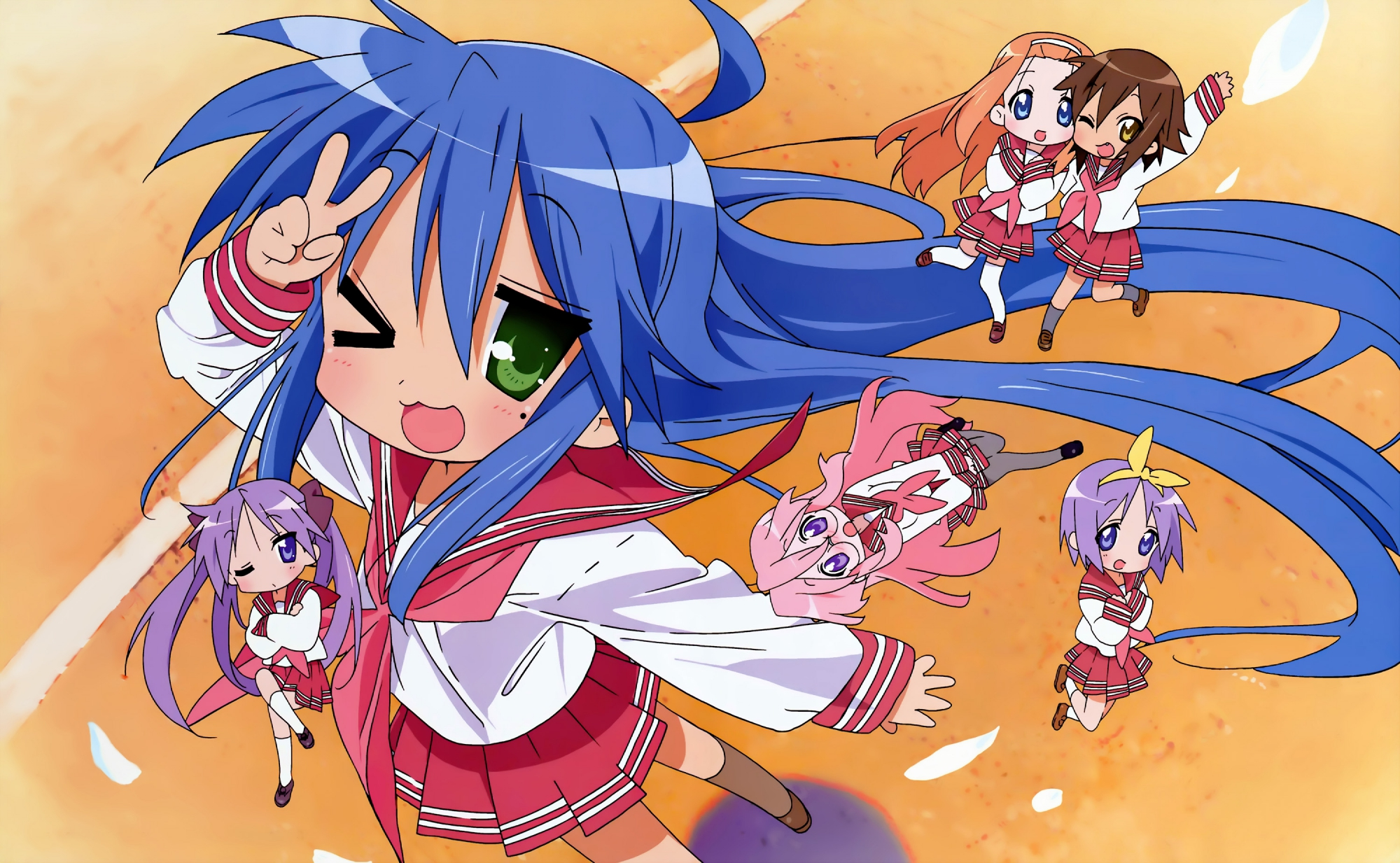 blue_hair glasses green_eyes hiiragi_kagami hiiragi_tsukasa horiguchi_yukiko izumi_konata kusakabe_misao lucky_star minegishi_ayano pink_hair purple_hair school_uniform takara_miyuki wink