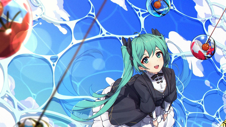 aqua_eyes aqua_hair dress fang goth-loli hatsune_miku lolita_fashion long_hair twintails vocaloid water zhayin-san