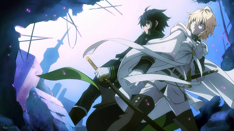 all_male black_hair blonde_hair boots cape fcc gloves green_eyes hyakuya_mikaela hyakuya_yuuichirou male owari_no_seraph short_hair signed sword weapon