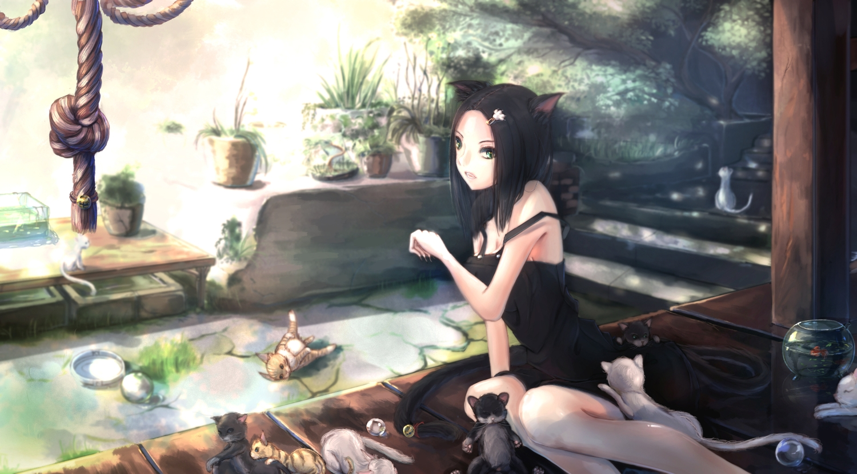 animal animal_ears black_hair cat catgirl fish green_eyes kikivi original rope