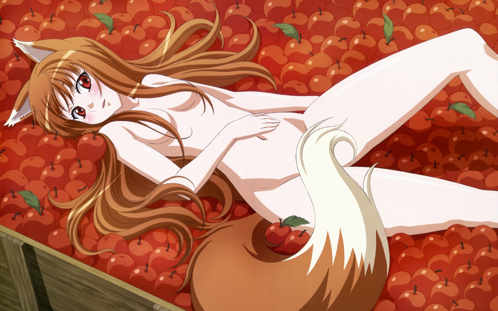 animal_ears apple horo long_hair nude orange_hair red_eyes spice_and_wolf tail wolfgirl