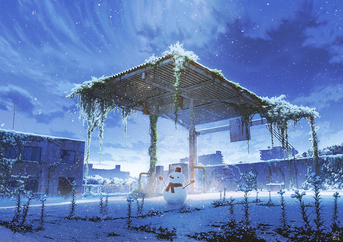 clouds mocha_(cotton) nobody original polychromatic ruins scenic signed sky snow snowman winter