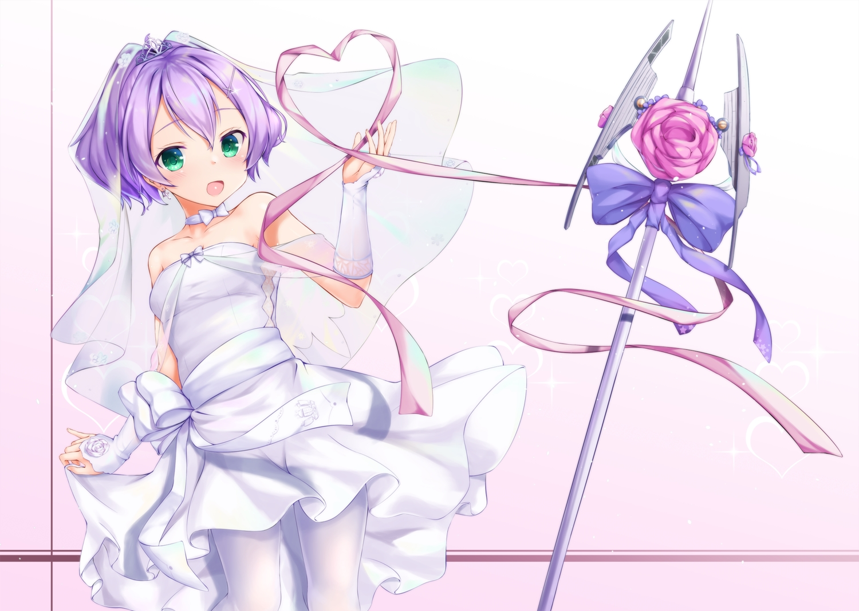 anthropomorphism azur_lane bow dress flowers green_eyes headdress javelin_(azur_lane) pantyhose purple_hair ribbons shimo_(shimo332215) short_hair weapon wedding_attire