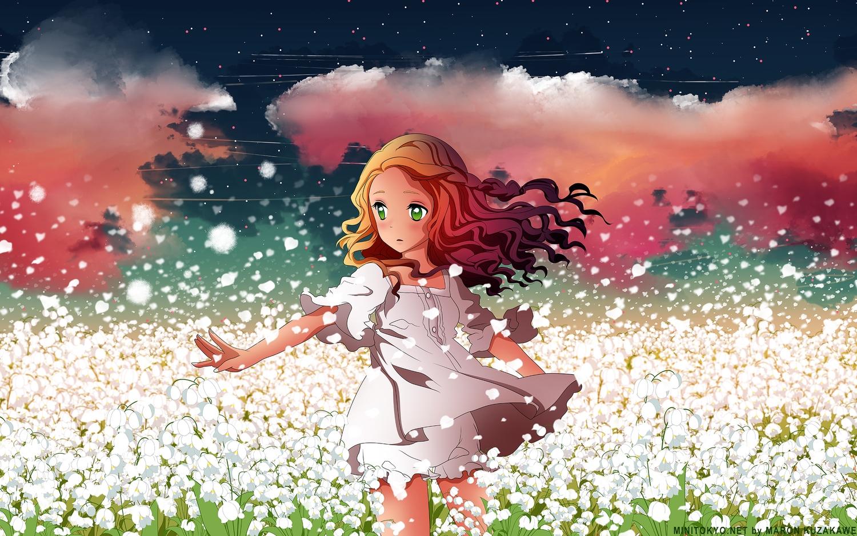 bloomers clouds dress flowers green_eyes h2so4 kuzakawe_maron long_hair orange_hair sky stars summer_dress