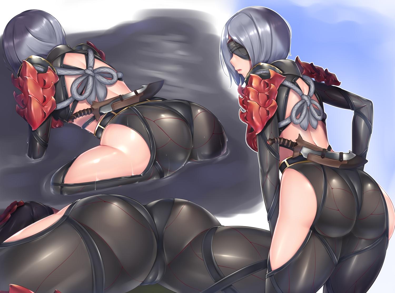 armor ass blindfold bodysuit cameltoe gacchu gray_hair knife monster_hunter monster_hunter:_world rope short_hair skintight water weapon