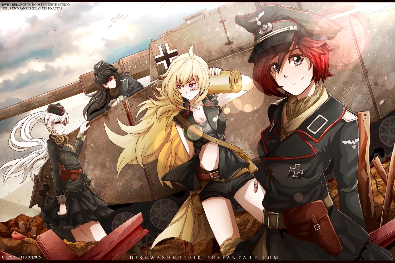 black_hair blake_belladonna blonde_hair combat_vehicle dishwasher1910 girls_und_panzer group military parody ruby_rose rwby uniform watermark weiss_schnee white_hair yang_xiao_long