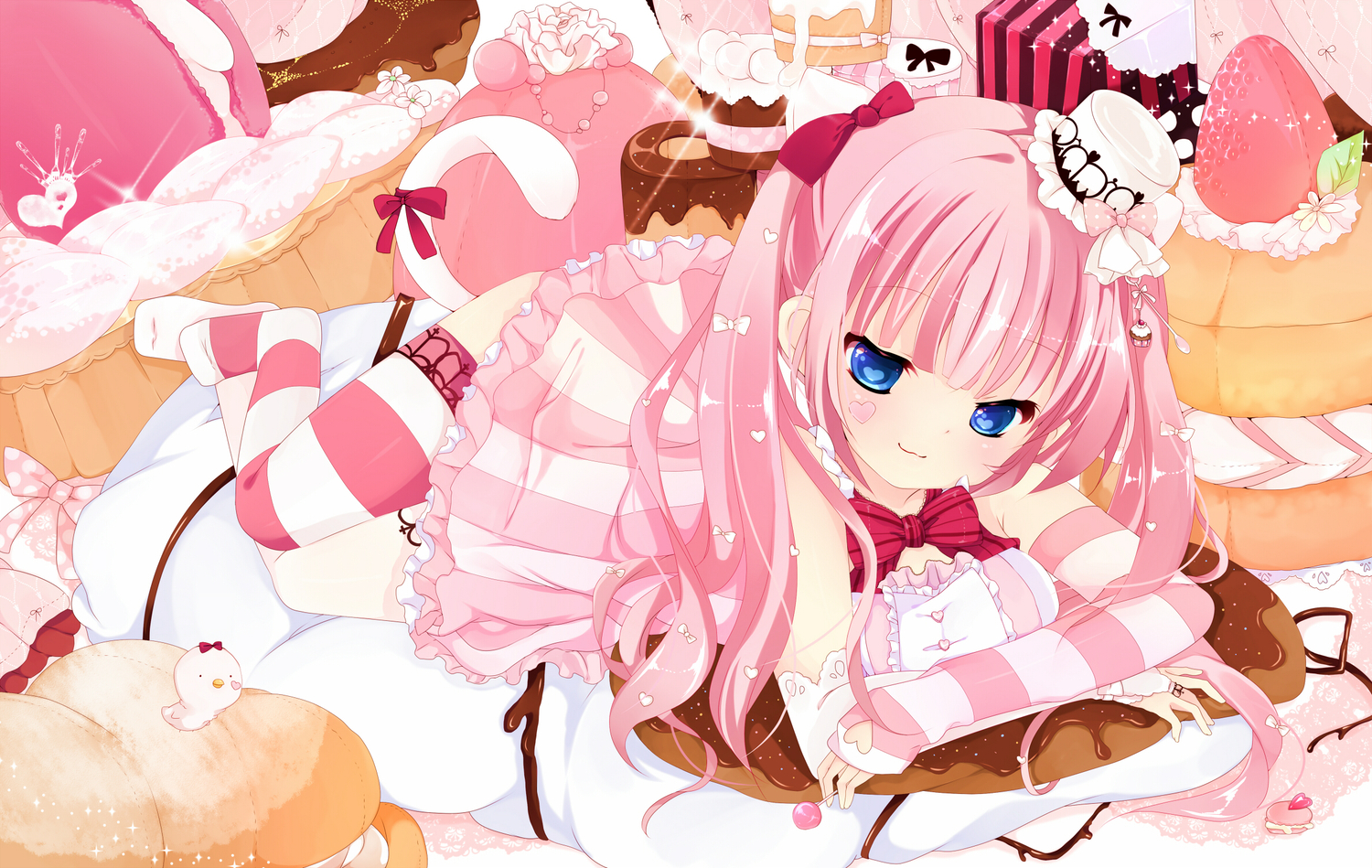 blue_eyes bow cake dress elbow_gloves food hat pink_hair sakuragi_yuzuki tagme tail