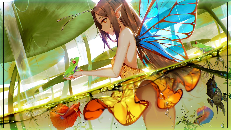 animal blueorca brown_eyes brown_hair dress fairy fish frog long_hair original pointed_ears water wings
