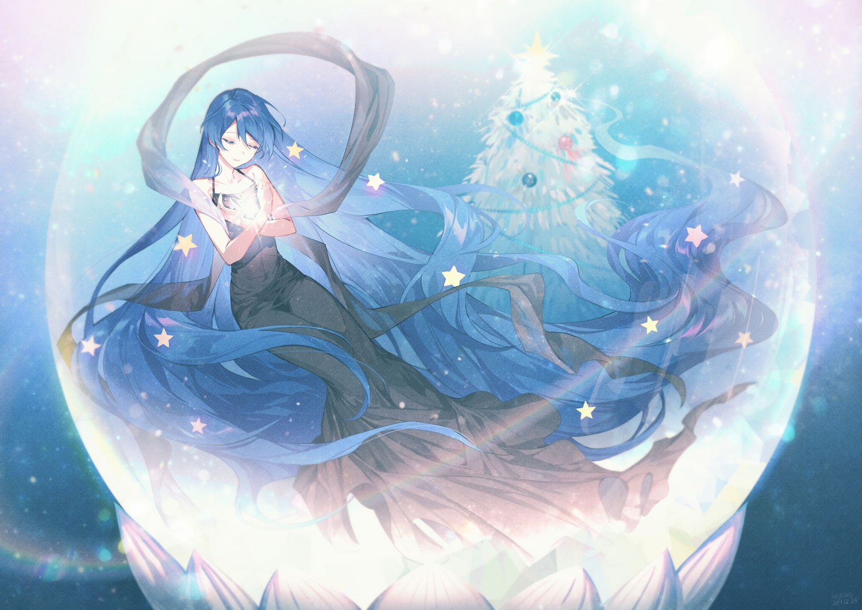 blue_hair christmas dress long_hair original ot-nm signed stars tree