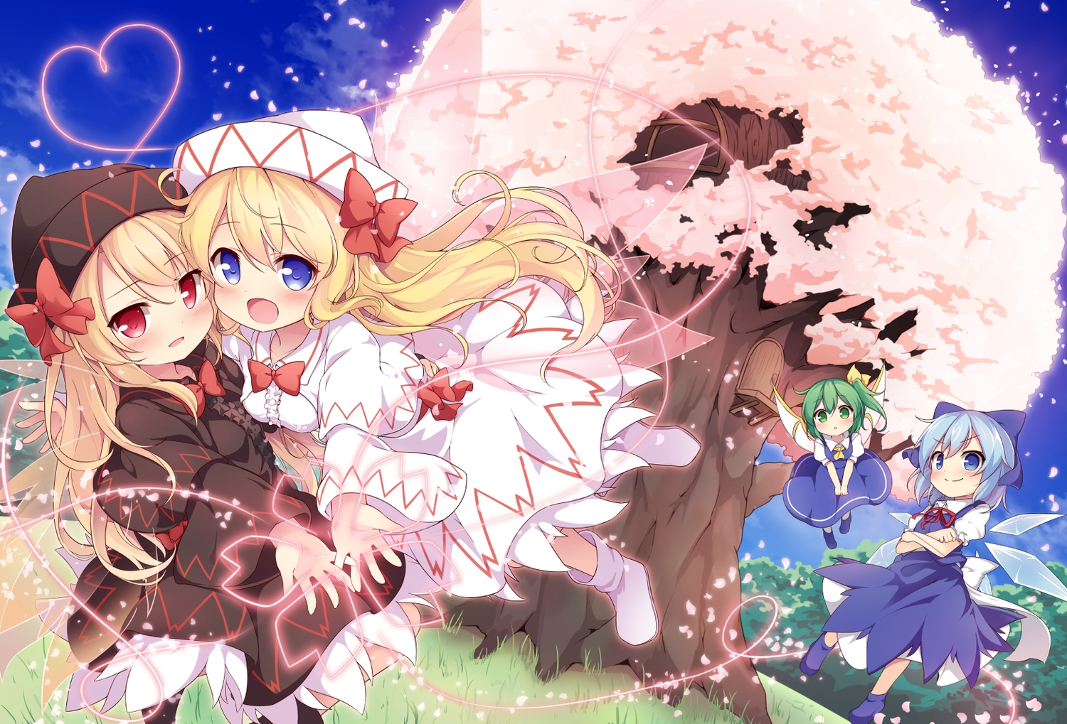 aliasing baku_ph blonde_hair blue_eyes blue_hair blush boots bow breasts cherry_blossoms cirno daiyousei dress fairy flowers grass green_eyes green_hair hat heart lily_black lily_white loli long_hair red_eyes ribbons shirt sky touhou tree wings
