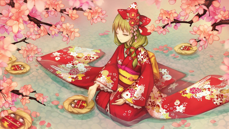 cherry_blossoms doll echoes_(cassandratree) flowers green_eyes green_hair headdress japanese_clothes kagiyama_hina kimono long_hair petals touhou tree water