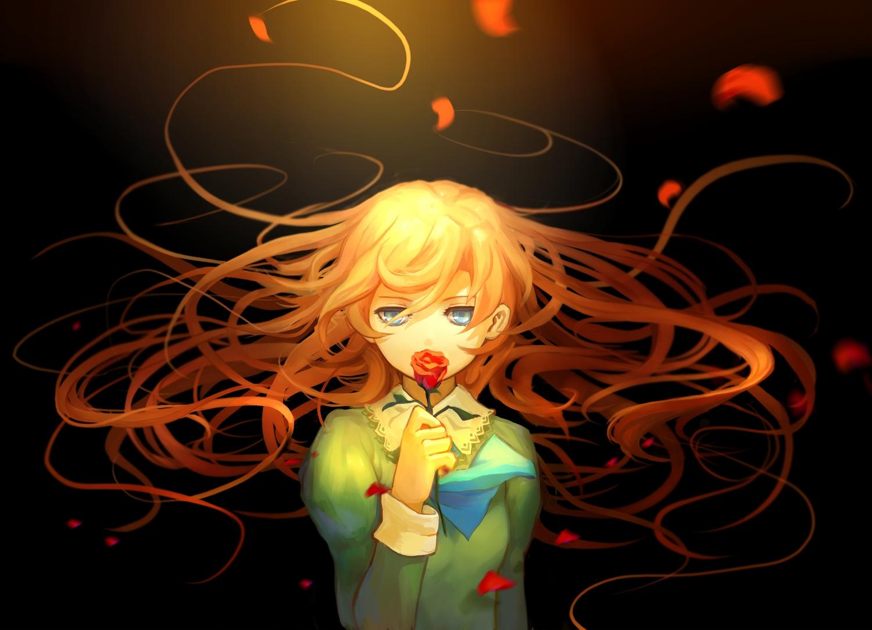 aoiakamaou aqua_eyes dark flowers ib long_hair mary_(ib) petals