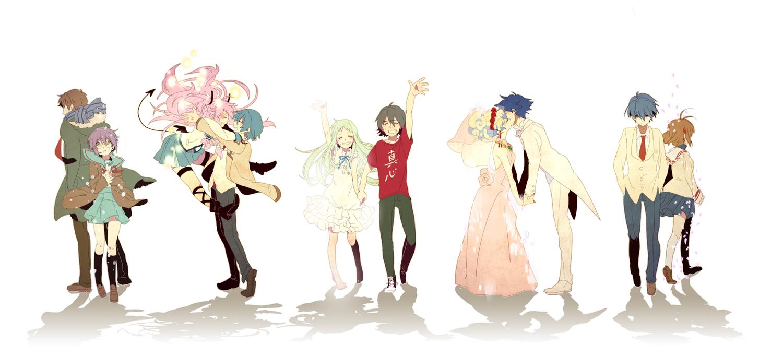 angel_beats! ano_hi_mita_hana_no_namae_wo_bokutachi_wa_mada_shiranai clannad crossover furukawa_nagisa group hinata_hideki honma_meiko kyon male nagato_yuki nia_teppelin okazaki_tomoya simon suzumiya_haruhi_no_yuutsu takumi_(scya) tengen_toppa_gurren_lagann white yadomi_jinta yui_(angel_beats!)