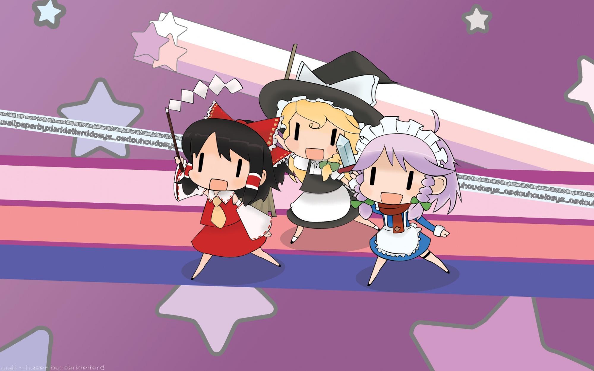 chibi hakurei_reimu hidamari_sketch izayoi_sakuya japanese_clothes kirisame_marisa maid miko scarf touhou witch