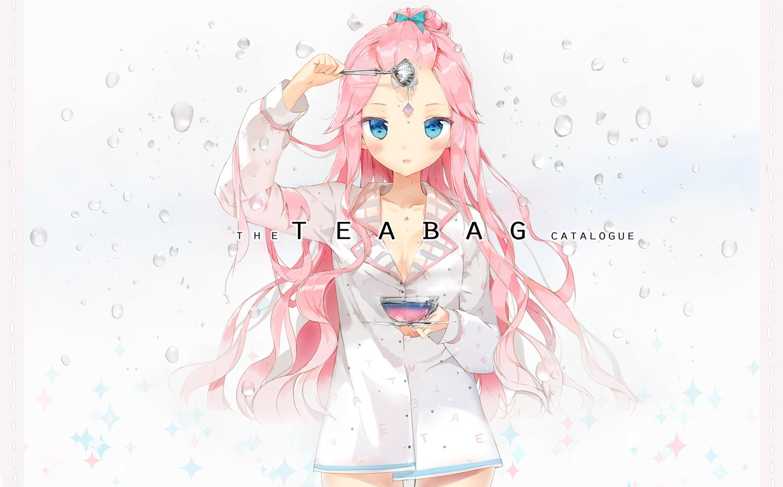 anmi blue_eyes blush long_hair no_bra original pink_hair