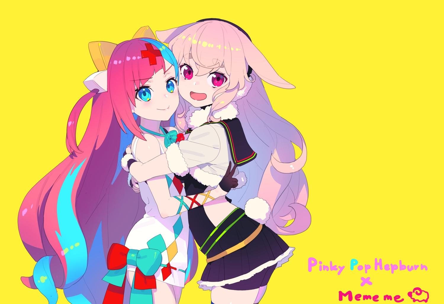 2girls animal_ears aqua_eyes bike_shorts bow bunny_ears bunnygirl dress earmuffs gloves hug .live long_hair mokota_mememe nagisa_kurousagi pink_eyes pink_hair pinky_pop_hepburn shorts skirt tail the_moon_studio yellow