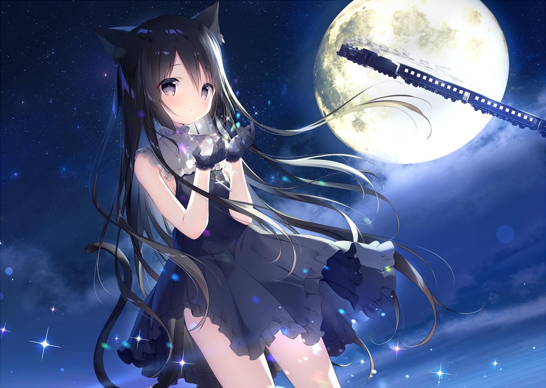 animal_ears black_hair catgirl clouds cross dress gloves hoshizora_tetsudou_to_shiro_no_tabi long_hair moon night noir_(hoshishiro) shiratama sky stars tail train waifu2x water