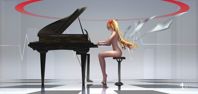 barefoot blonde_hair bow breasts eromanga-sensei hc headband instrument long_hair nude piano pointed_ears yamada_elf