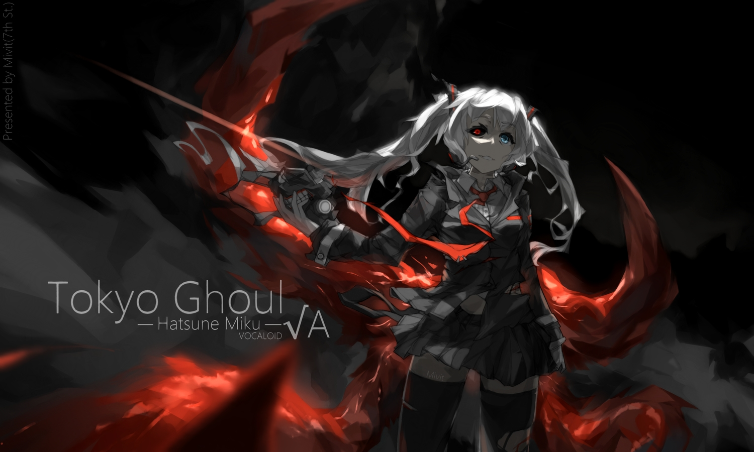 bicolored_eyes crossover hatsune_miku long_hair mivit skirt thighhighs tie tokyo_ghoul torn_clothes twintails vocaloid watermark white_hair zettai_ryouiki