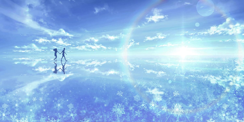 clouds kijineko long_hair male original rainbow reflection scenic silhouette sky snow