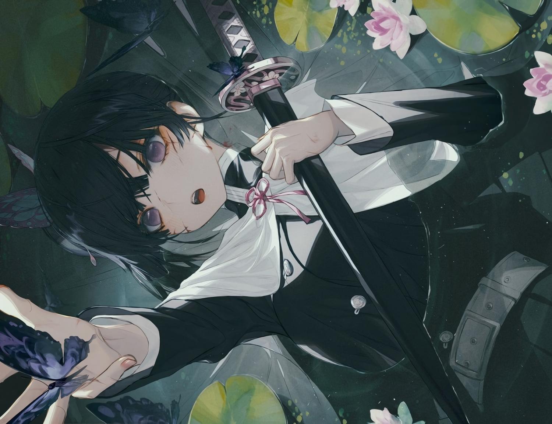 black_hair blush butterfly cape flowers katana kimetsu_no_yaiba purple_eyes scar short_hair sword tsuyuri_kanao uniform waifu2x wanke water weapon