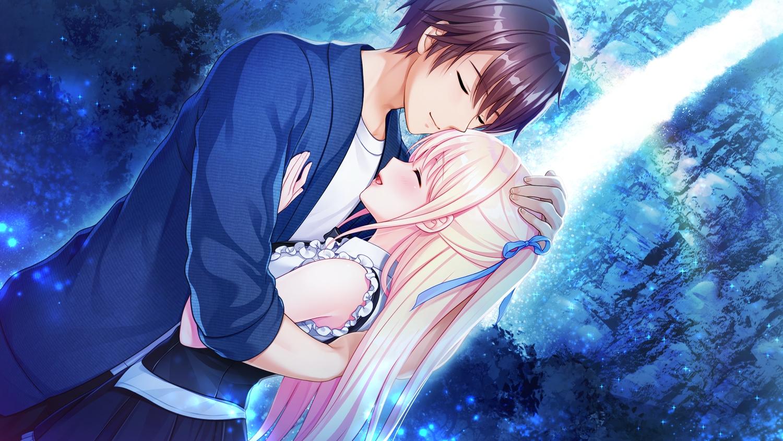 akino_subaru blonde_hair brown_hair game_cg kurono_kanata long_hair male ribbons sakura_rein short_hair tsuki_no_kanata_de_aimashou:_sweet_summer_rainbow