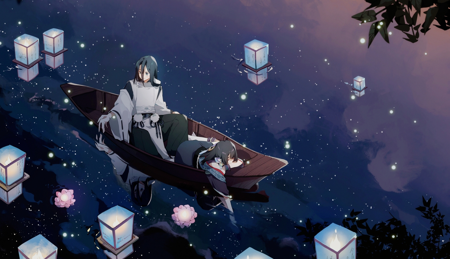 black_hair boat chajott64 clouds flowers green_eyes long_hair male night onmyouji petals reflection sky stars tagme_(character) water
