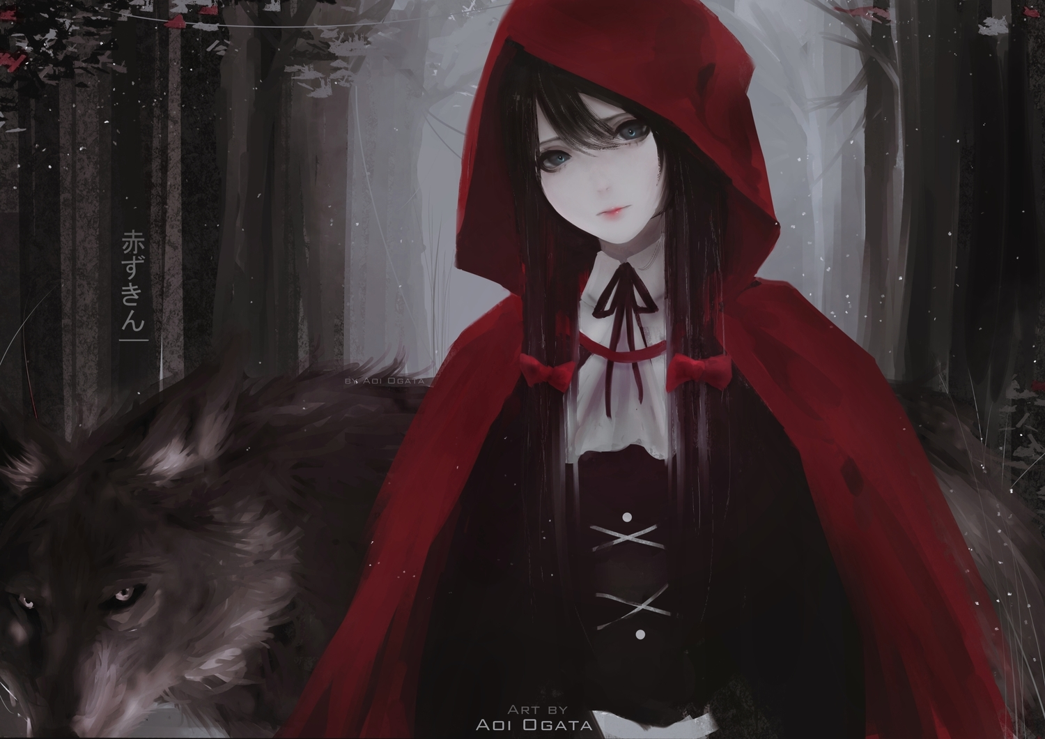 animal aoi_ogata black_eyes black_hair bow cape forest hoodie little_red_riding_hood long_hair original red_riding_hood ribbons tree watermark wolf