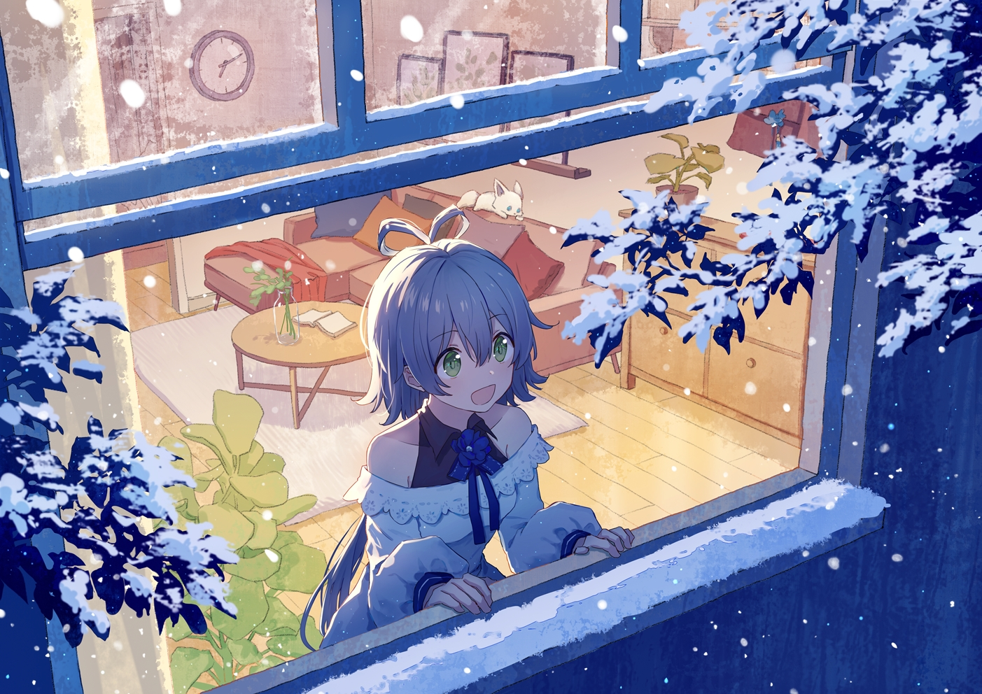 animal book couch fox gray_hair green_eyes long_hair luo_tianyi mimengfeixue ponytail snow vocaloid vsinger winter