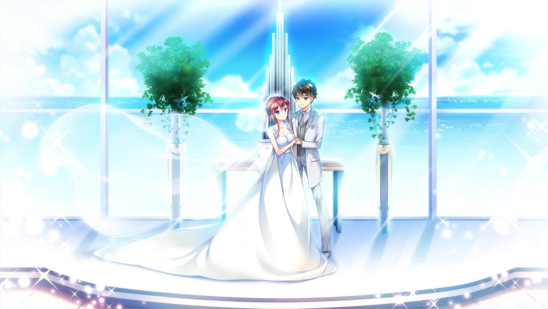 ensemble_(company) game_cg koi_wa_sotto_saku_hana_no_you_ni kotoishi_iori male suit sumeragi_rei tagme_(artist) water wedding wedding_attire